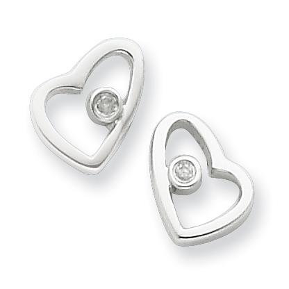 Sterling Silver .02ct Diamond Heart Earrings