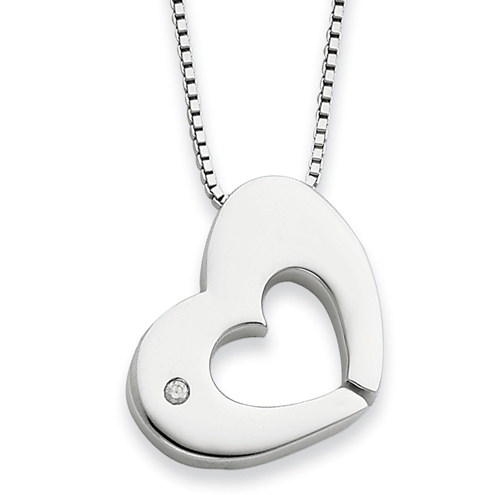 18in Sterling Silver .02ct Diamond Heart Necklace