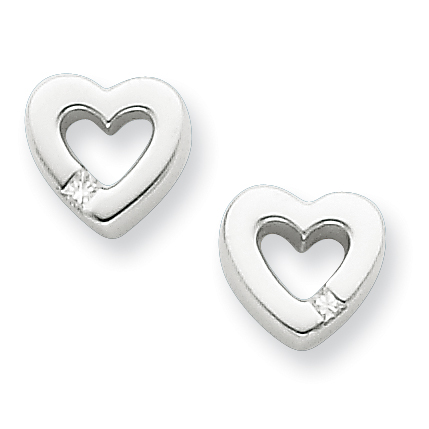 Sterling Silver .04ct Diamond Heart Earrings