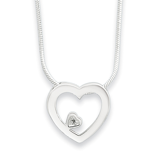 18in Sterling Silver .03ct Diamond Heart Necklace