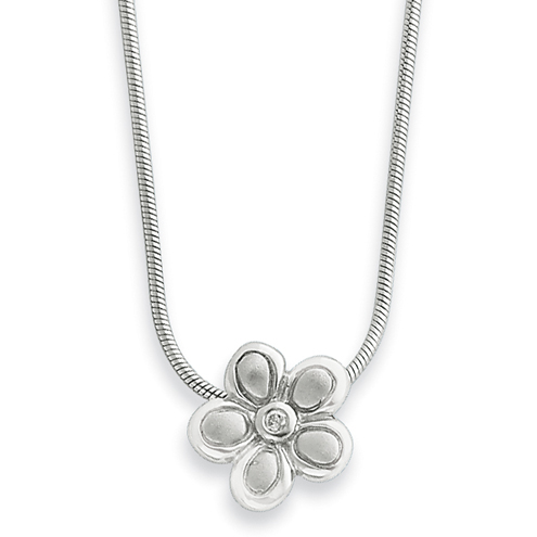 18in Sterling Silver .02ct Matte Finish Diamond Flower Necklace