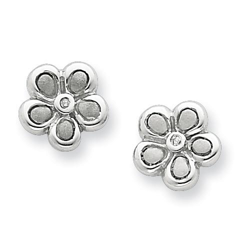 Sterling Silver .02ct Matte Finish Diamond Flower Earrings