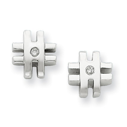 Sterling Silver .02ct Diamond Cross Earrings
