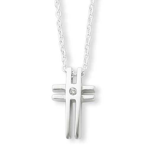 18in Sterling Silver .03ct Diamond Cross Necklace