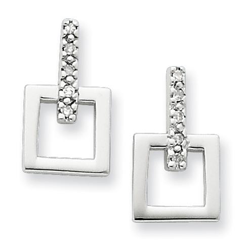 Sterling Silver .05ct Diamond Square Earrings