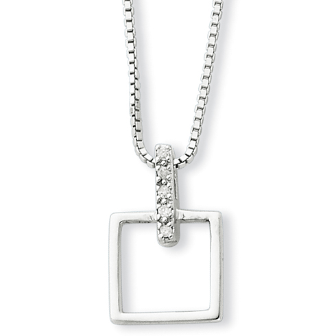 Sterling Silver .05ct Diamond Open Square 18in Necklace