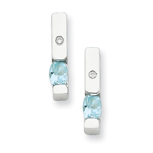Sterling Silver .02ct Diamond and Blue Topaz Earrings