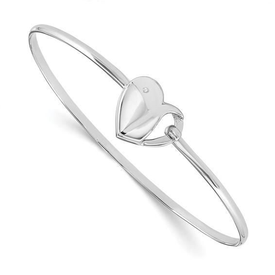 Sterling Silver .01ct Diamond Heart Bangle 7in Bracelet