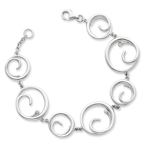 7in Sterling Silver .03ct Diamond Bracelet