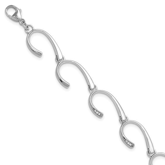 7in Sterling Silver .06ct Diamond Bracelet