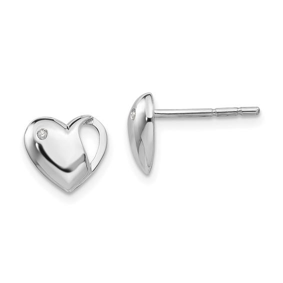 Sterling Silver .01ct Diamond Heart Earrings