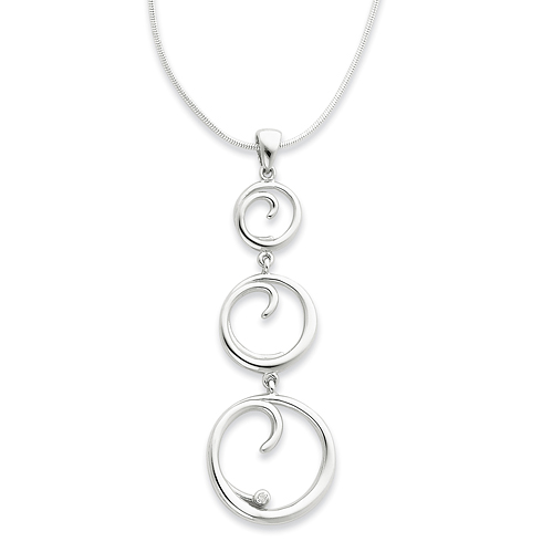 18in Sterling Silver .02ct Diamond Necklace
