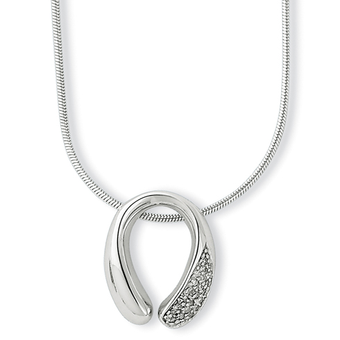 18in Sterling Silver .08ct Diamond Necklace