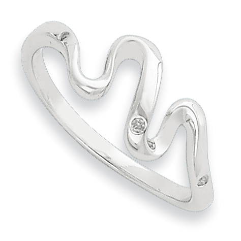 Sterling Silver Wavy .01ct Diamond Ring