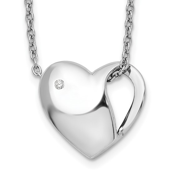 Sterling Silver .01ct Diamond Heart 18in Necklace