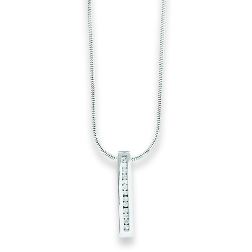 18in Sterling Silver Diamond Bar Necklace