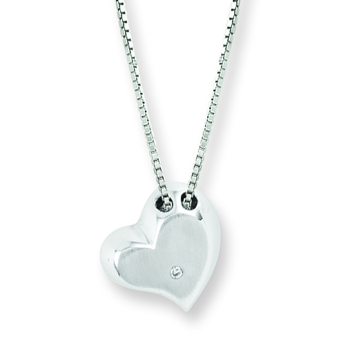 18in Sterling Silver .01 ct Diamond Heart Necklace