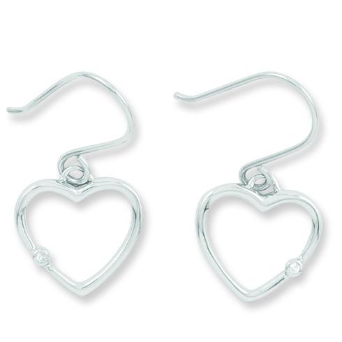 Sterling Silver Diamond .02ct Heart Earrings