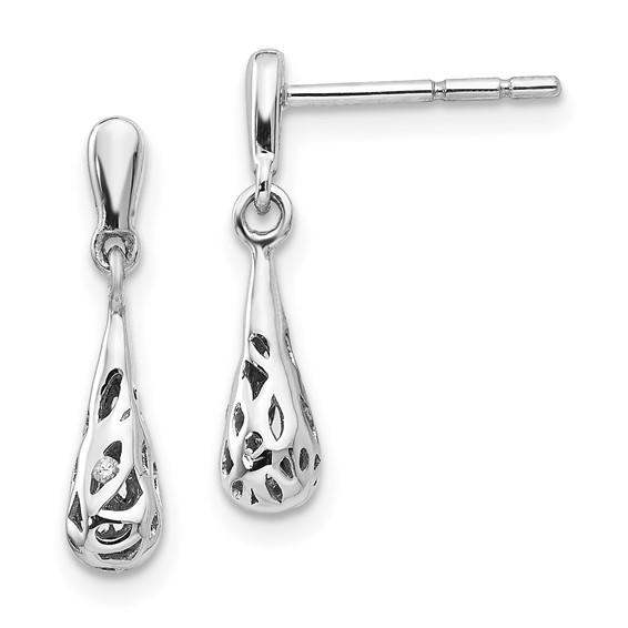 Sterling Silver Diamond Filigree Earrings