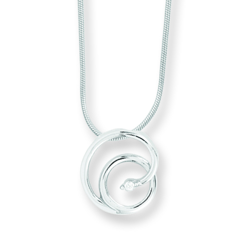 18in Sterling Silver .02ct Diamond Nested Circle Necklace