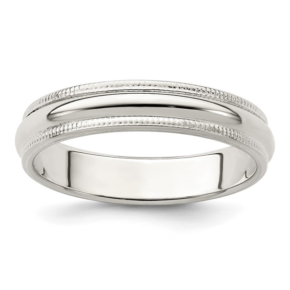 Sterling Silver 4mm Milgrain Wedding Band