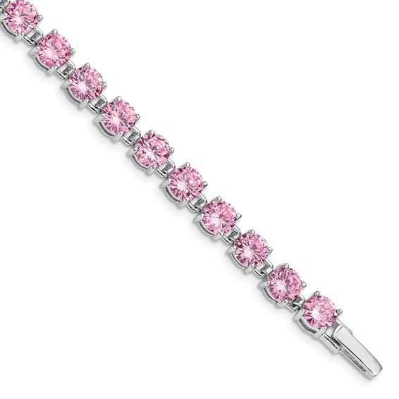 7.25in Sterling Silver Pink CZ Bracelet