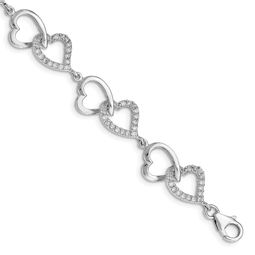 Sterling Silver 7 3/4in Cubic Zirconia Heart Bracelet
