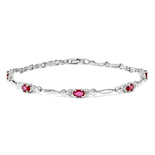 Sterling Silver 1.3 ct tw Composite Ruby Bracelet with Diamond Accents