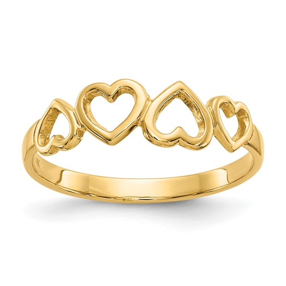 14kt Yellow Gold Ring with Four Open Hearts