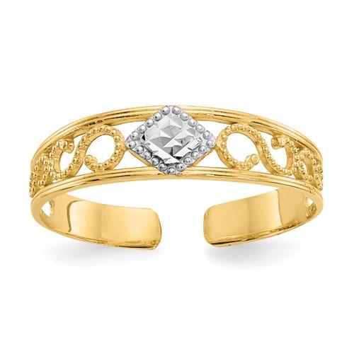 14kt Yellow Gold Rhodium Diamond-cut Scroll Toe Ring
