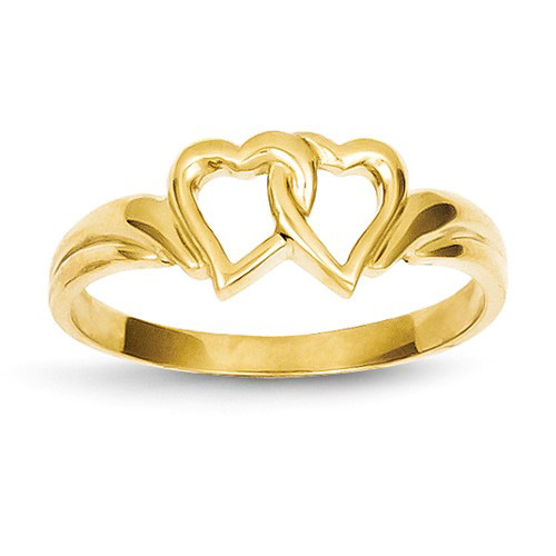14kt Yellow Gold Joined Hearts Ring