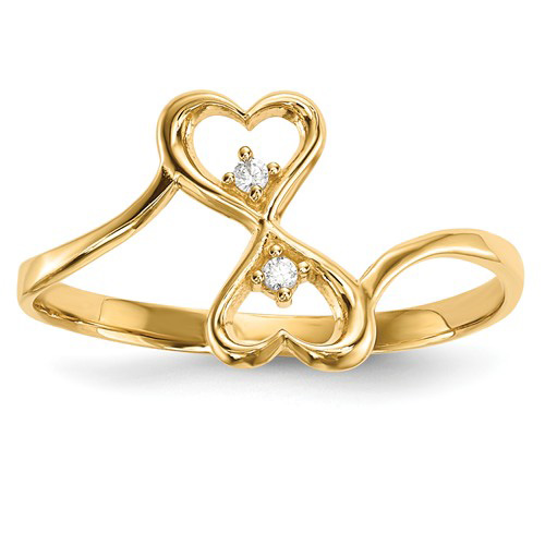 14kt Yellow Gold Heart Duo Promise Ring with CZs
