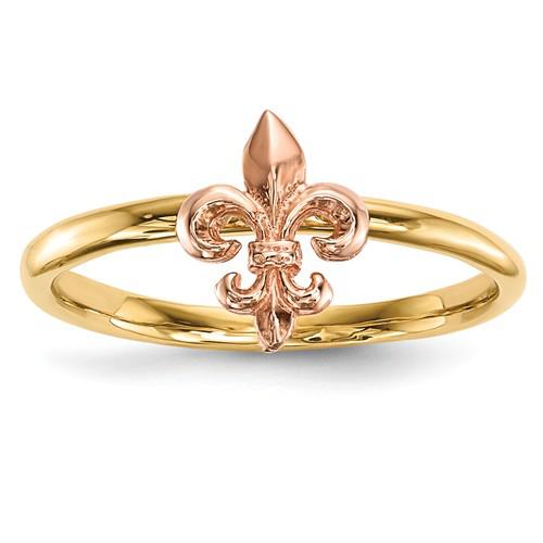 14kt two tone gold fleur de lis ring size 7 r623