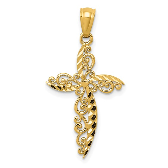 14kt Yellow Gold 7/8in Scroll Design Cross