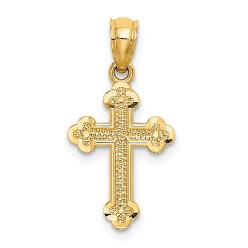 14k Yellow Gold 5/8in Small Budded Cross Charm