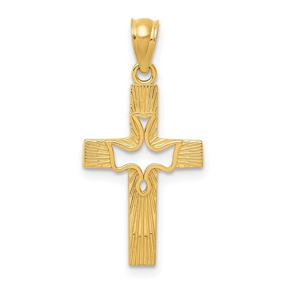 14kt Yellow Gold 3/4in Cut-out Dove Cross Pendant