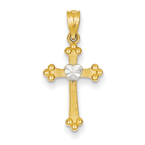 14kt Gold Rhodium 5/8in Budded Cross Heart Charm