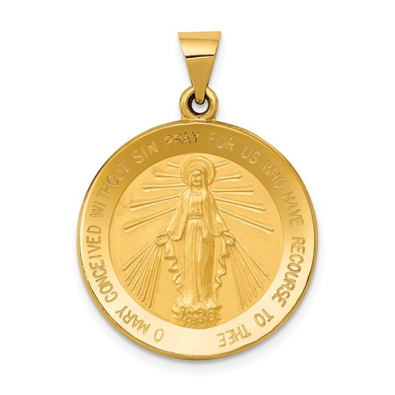 14kt Yellow Gold 7/8in Round Blessed Mary Pendant