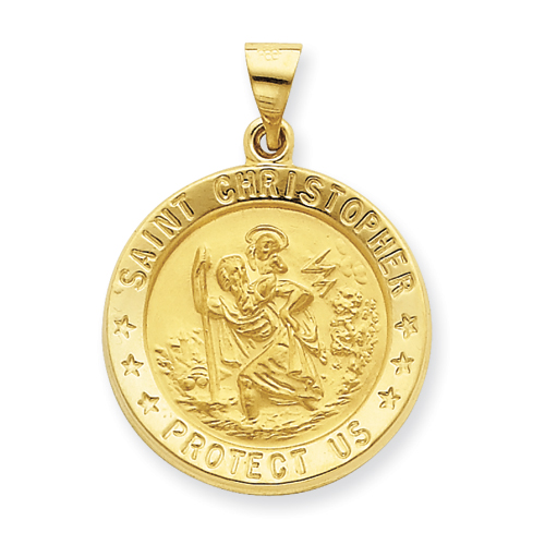 14kt Yellow Gold 7/8in Hollow St Christopher Medal