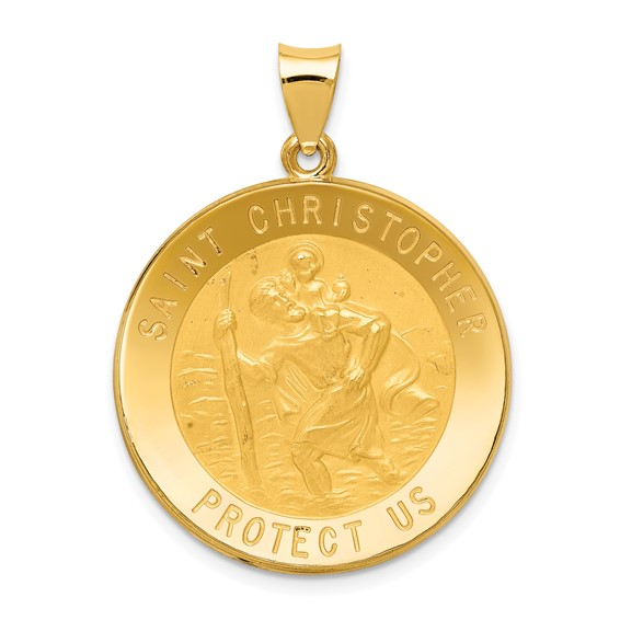 14kt Yellow Gold 1in Hollow Saint Christopher Medal