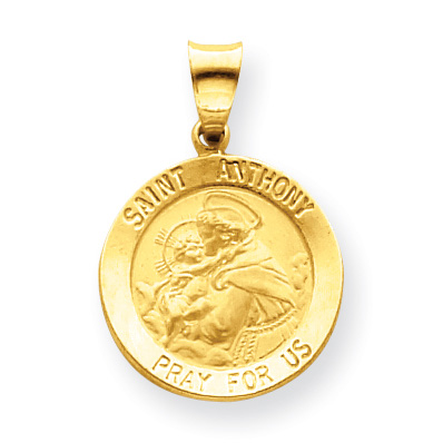 14kt Yellow Gold 3/4in Hollow Round St Anthony Medal