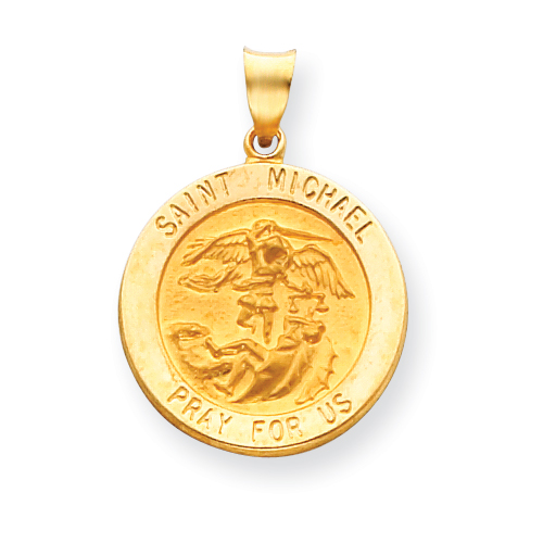 14k Yellow Gold 7/8in Hollow St Michael Medal