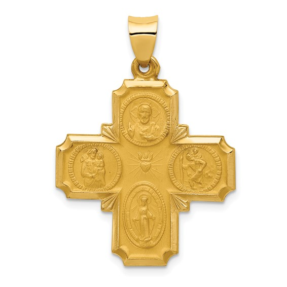 14kt Yellow Gold 1in Hollow Four-Way Medal