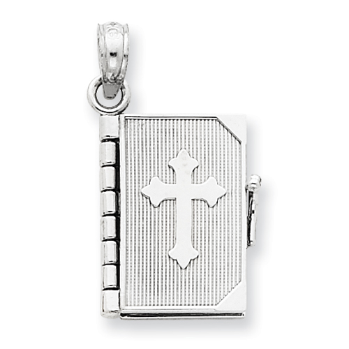 14kt White Gold 5/8in Lord's Prayer Bible Cross Pendant