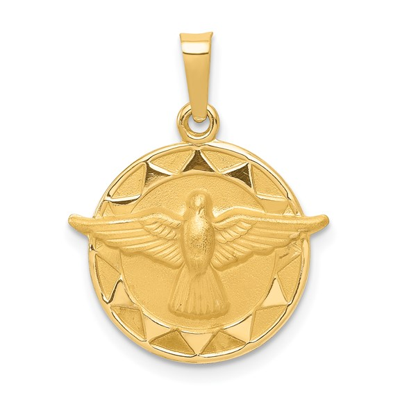 14kt Yellow Gold 1/2in Round Holy Spirit Medal Charm