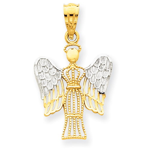 14k Yellow Gold & Rhodium Angel with Halo Pendant 11/16in