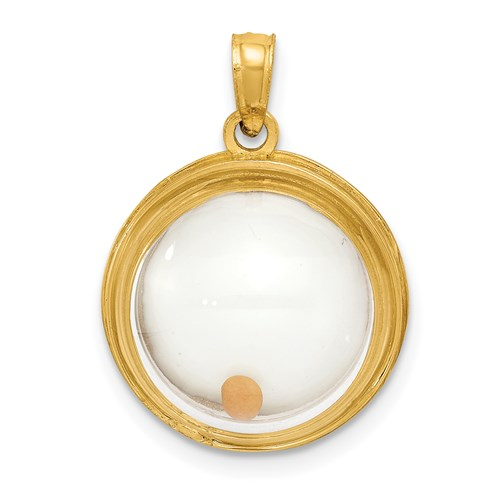 14kt Gold 5/8in Mustard Seed Domed If Ye Have Faith Pendant