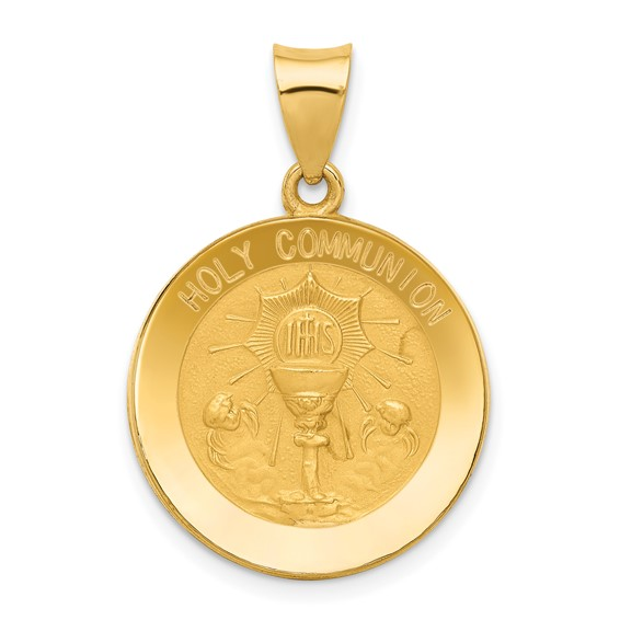 14k Yellow Gold 3/4in Hollow Holy Communion Medal