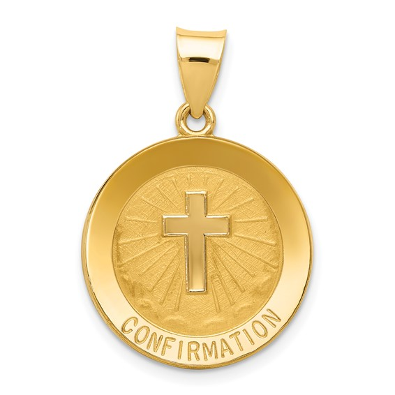 14k Yellow Gold Hollow Confirmation Medal 11/16in
