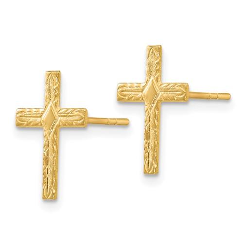 14kt Yellow Gold 1/2in Textured Cross Earrings